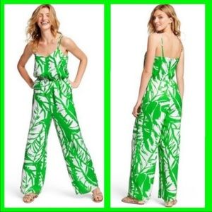 NWT Lilly Pulitzer Boom Boom Jumpsuit Green White